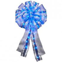 14 in. LED Lit Blue Ribbon Bow