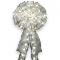 14 in. Pre-Lit LED Silver Ribbon Bow