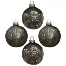 3.25 in. Shiny and Matte Silver Finish Round Ornament with Metal Snowflake Embellishment (4-Count)