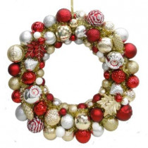 24 in. Cranberry Frost Shatter-Resistant Ornament Wreath