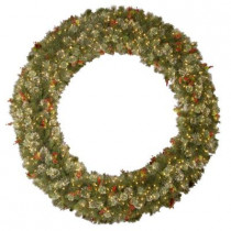 84 in. Wintry Pine Artificial Wreath with 600 Clear Lights