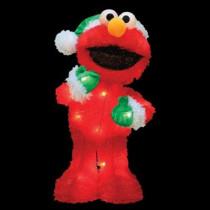 18 in. Pre-Lit Sesame Street Elmo in Green Santa Hat and Mittens