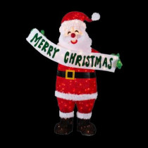 5 ft. Pre-Lit Tinsel Santa with Sign
