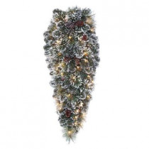 32 in. Frosted Pine Artificial Teardrop with 50 Clear Lights