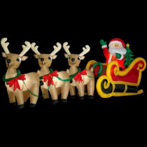 16 ft. L x 5.9 ft. H Inflatable Santa in Sleigh with 3 Reindeer