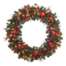 48 in. Battery Operated Red Accented Artificial Wreath with 60 Clear LED Lights
