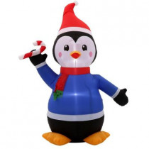 5 ft. H Inflatable Penguin with Candy Cane