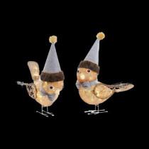 18 in. Pre-Lit Burlap Birds (Set of 2)