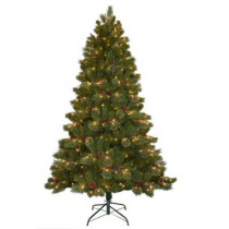 9 ft. Cashmere Cone and Berry Decorated Artificial Christmas Tree with 750 Clear Lights