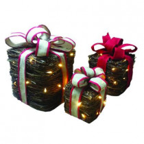 12.5 in. Pre-Lit Vine Gift Boxes (Set of 3)