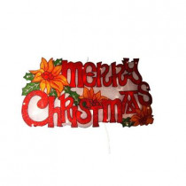 9 in. Merry Christmas Sign Indoor Hanging Decor with 20 Halogen Lights