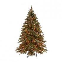 9 ft. Pre-Lit Snowy Pine Artificial Christmas Tree with Pinecones and Multi-Color Lights