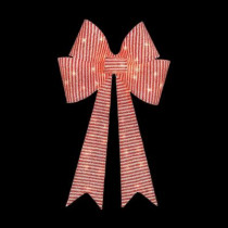 36 in. Pre-Lit Red/White Striped Tinsel Bow