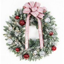 30 in. Battery Operated Frosted Mercury Artificial Wreath with 50 Clear LED Lights