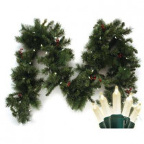 9 ft. Pre-Lit LED Battery Operated Anchorage Fir Garland with Timer