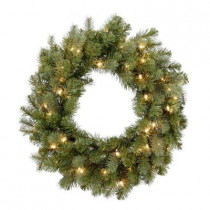 26 in. Pre-Lit Feel-Real Downswept Douglas Fir Artificial Christmas Wreath with Clear Lights