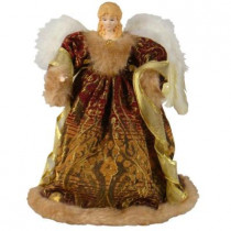 16 in. Burgundy and Gold Angel Figurine