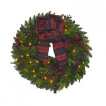 32 in. Battery Operated Elegant Plaid Artificial Wreath with 50 Clear Multi-Function LED Lights