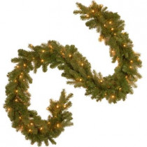 9 ft. Feel-Real Downswept Douglas Fir Artificial Garland with 100 Clear Lights