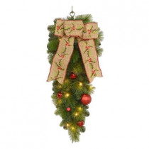 32 in. Battery Operated Holly Diamond Artificial Teardrop with 20 Clear Multi-Function LED Lights