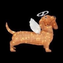 26 in. Pre-Lit Tinsel Dachshund Dog