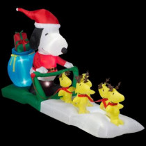 5 ft. W Inflatable Snoopy Sled Scene