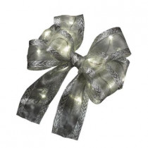 6 in. LED-Lit Silver Gift Bow