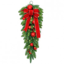 32 in. Battery Operated Mixed Fir Artificial Teardrop with 50 Clear LED Lights