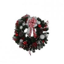 24 in. Unlit Peppermint Frost Artificial Wreath