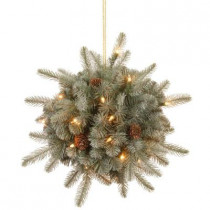 12 in. Battery Operated Feel-Real Alaskan Spruce Artificial Kissing Ball Swag with Pinecones and 35 Clear LED Lights