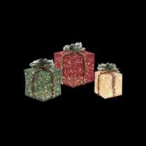 Pre-Lit Burlap Gift Boxes (Set of 3)