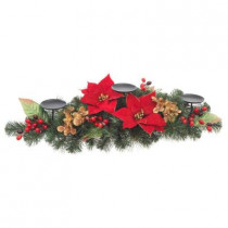 32 in. Artificial Red Poinsettia Candleholder Centerpiece