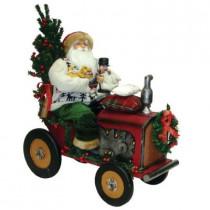 18 in. Santa Riding a Tractor with a Nutcracker