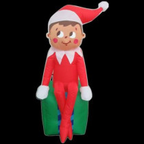 3.5 ft. LED Inflatable Elf on Present