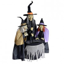 75 in. Animated Bewitching Cauldron Sisters
