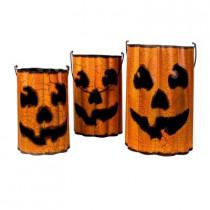 Metal Pumpkin Halloween Luminaries (Set of 3)
