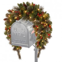 3 ft. Battery Operated Crestwood Spruce Artificial Mailbox Swag with 50 Clear LED Lights