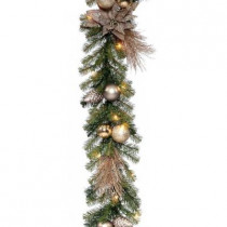 9 ft. Metallic Artificial Garland with 35 Clear Lights