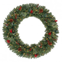 48 in. Battery Operated Winslow Artificial Wreath with 120 Clear LED Lights