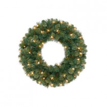 30 in. Wesley Mixed Spruce Artificial Wreath with 100 Clear Lights