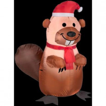 3.5 ft. H Inflatable Holiday Beaver with Santa Hat and Scarf