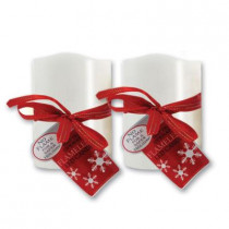 3 in. x 6 in. Flameless Novelty White LED Candle (2-Set)