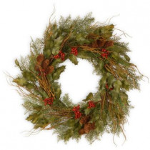 24 in. Unlit Rustic Berry and Vine Artificial Wreath