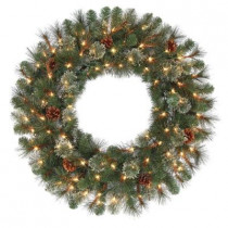 30 in. Alexander Pine Artificial Wreath with Pinecones and 100 Clear Lights