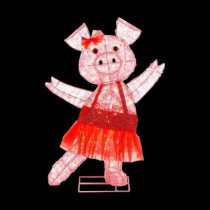 32 in. Pre-Lit Acrylic Pink Pig